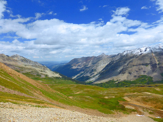 Looking down the Conundrum Creek Valley from Triangle Pass